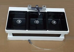Image Is Loading Portable Sink Mobile Concession 3 Compartment Table