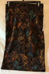 Lularoe-Cassie-Skirt-Brown-With-Leaf-Pattern-Size-Small-NWT-Charity-Sale