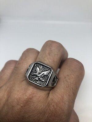 604ms Großer Jahrgang Silber Edelstahl Größe 8 Herren Adler Ring