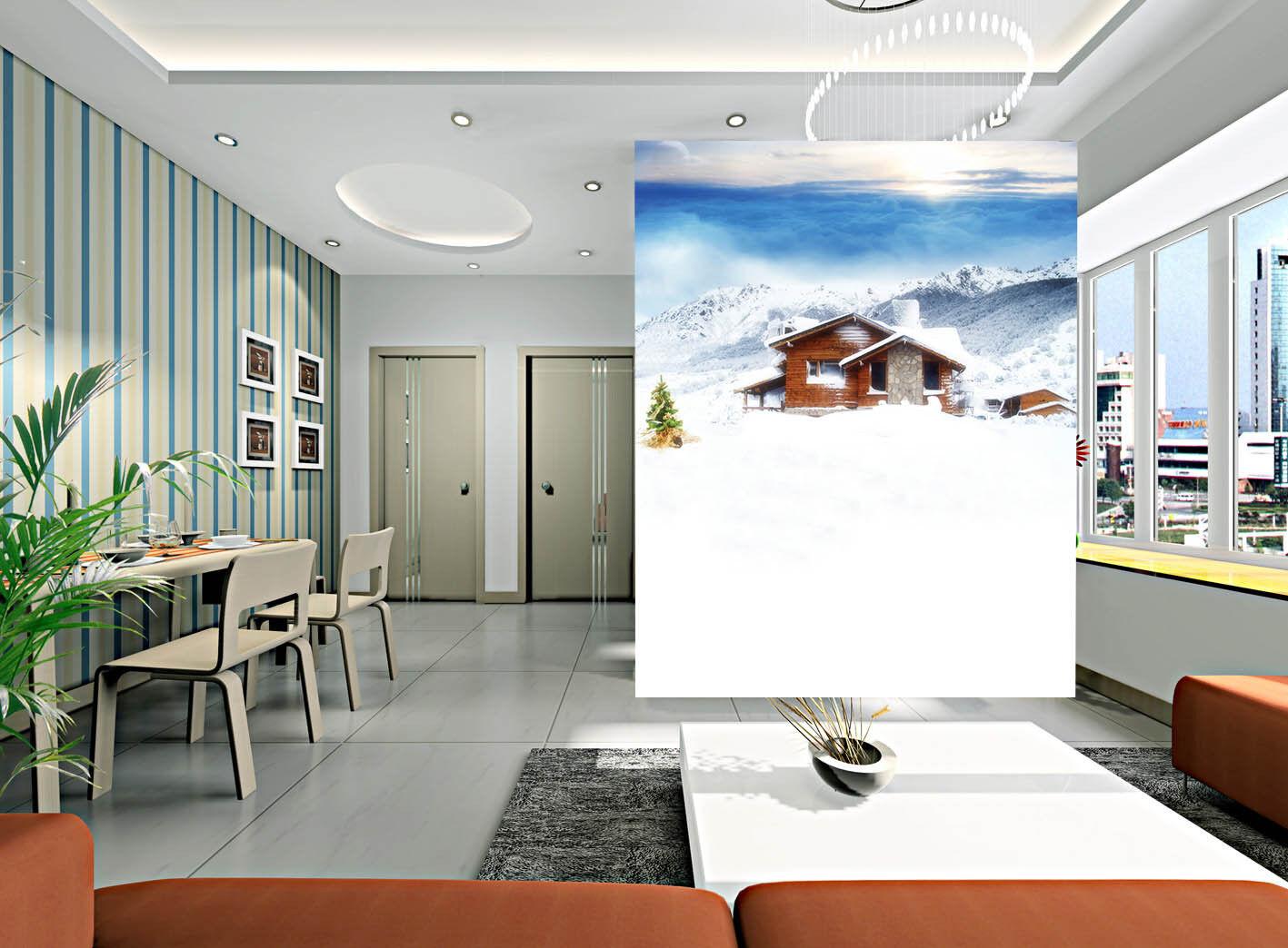 3D Snow Hills House 047 Wall Paper Wall Print Decal Wall AJ WALLPAPER CA
