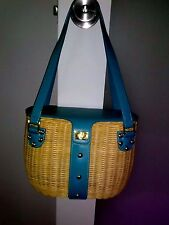 Etienne Aigner Turquoise Faux Leather & Wicker Basket Handbag Purse