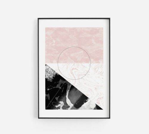 Set of 3 Pink Black Grey Abstract Marble Home Poster Prints Decor Wall Art Gift