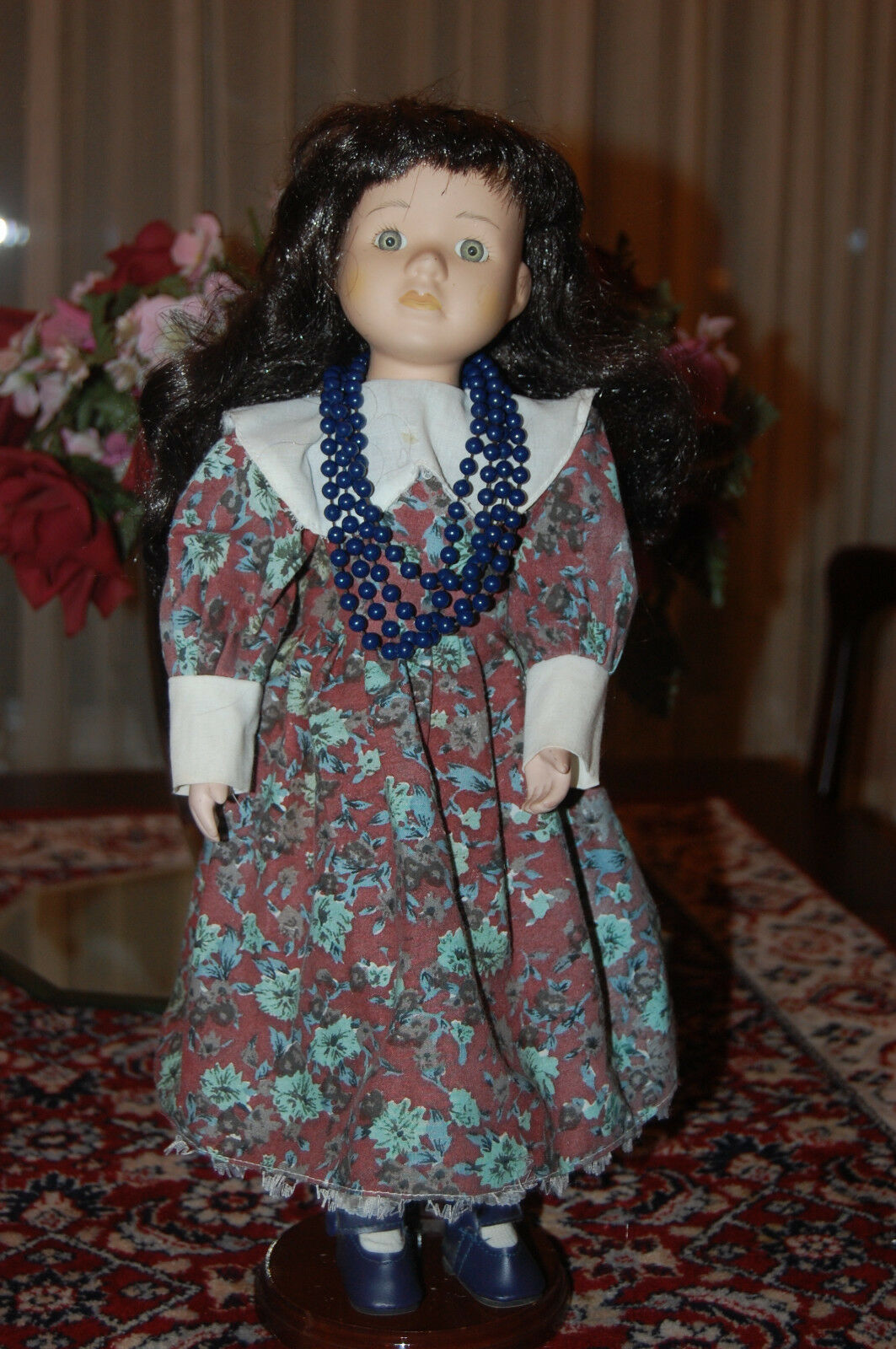 Alemania Vintage Vintage Muñeca De Porcelana Con Flor Para Perla Collar 40 Cm