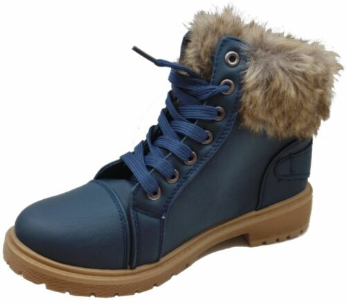 Womens Winter Ankle Boots Ladies Army Combat Flat Grip Sole Fur Lined Shoes Size