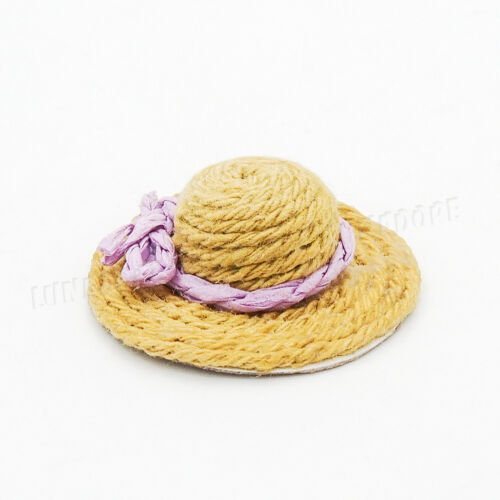 1:12 Miniature Beauty Bowknot Straw hat Sweet Girl Dollhouse Outdoor Decor Gift