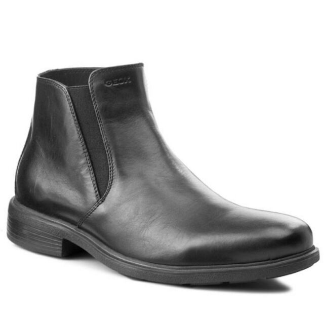 Geox Uomo Dublin D, Stivaletti Casual, Black Smooth Leather Cerniera+elastico