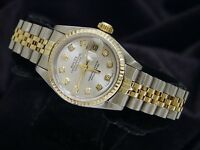 Rolex Datejust Ladies 2Tone 18K Gold Stainless Steel Watch Silver Diamond 69173