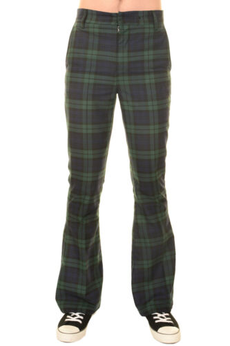 Mens 60s 70s Vintage Retro Blackwatch Tartan Plaid Bell Bottom Trousers