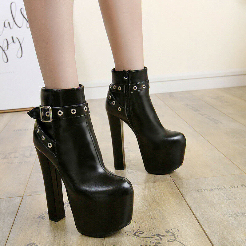 Women Gladiator Rivets Buckle Super High Platform Ankle Boots Club Sexy shoes Sz