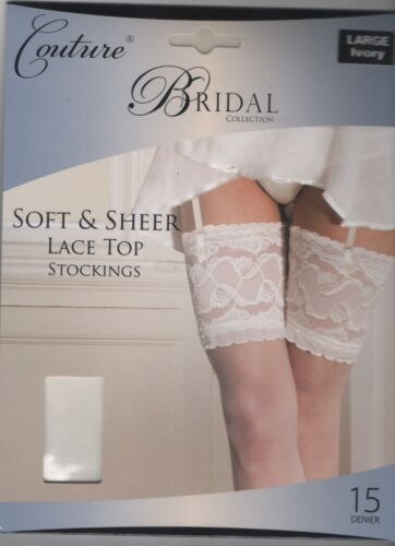 New Couture Bridal Collection Deep Lace Top Stockings White or Ivory Med Large