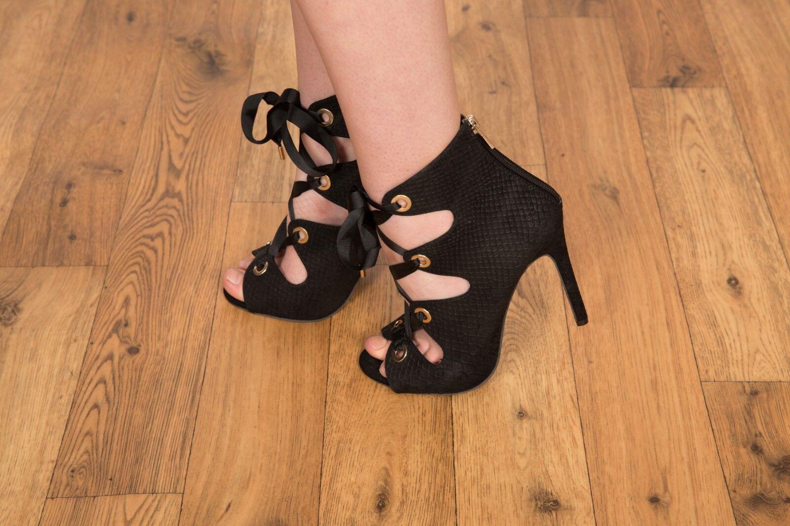 Designer style black & gold faux snakeskin peeptoe ribbon lace up heels size 5