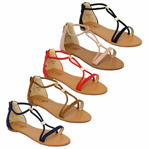 65254e24cba5 Ladies Flat Sandals Womens Suede Look Open Toe Gladiator Shoes ...