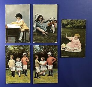 5-Children-Classic-Antique-Postcards-1900s-Tuck-Publ-For-Collectors-W-Value