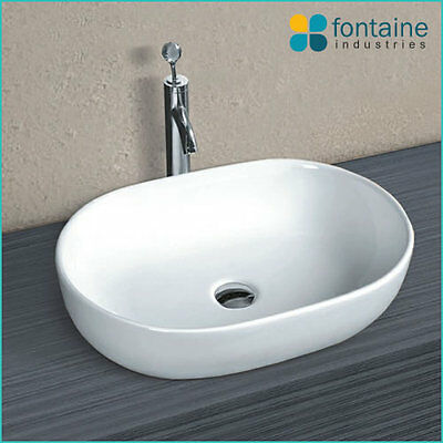 Above Counter Basin Bathroom White Ceramic Modern Large Sink Beauty Oval-SECONDS
