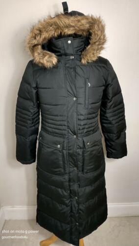 Dkny Down Puffer Jacket Small Faux Fur Hood Full L
