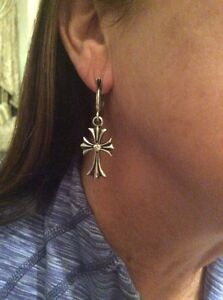 Image Is Loading Genuine Chrome Hearts Diamond Sterling Sliver Cross Earrings