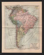 Landkarte map 1909: SÜD-AMERIKA. Politische Übersicht. Buenos Aires Montevideo