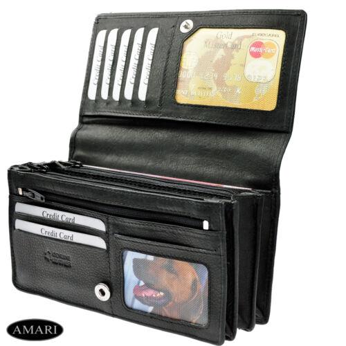 AMARI Portemonnaie XXL mit RFID Schutz Nappaleder 20 Fächer Geldbörse Geldtasche