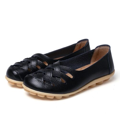 Women Casual Genuine Leather Slip on Loafers Moccasin Flats Boat Oxfords Shoes~