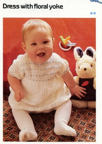 Baby Dress with Floral Yoke Cavendish Crochet Pattern//Instructions Leaflet NEW