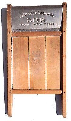 VTG 1900's Wood Large RARE NATIONAL WASHBOARD Co. Chicago SAGINAW NRA Member