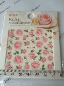 Nail-tip-Art-stickers-transfer-Wrap-water-decals-Pink-Rose-Flower-Manicure-M105