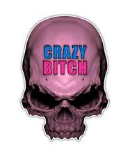 2 Girl Skull Decal - Crazy Bitch Skull Sticker Pink laptop ipad graphic