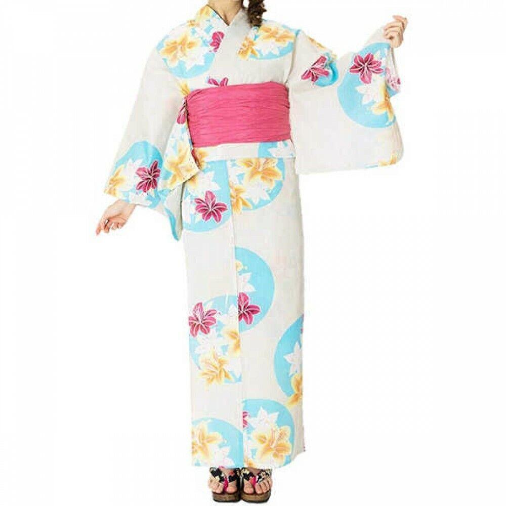 Japanese Women's Dobby Weave Yukata Kimono 4 Set of Items 08 Japan with Tracking