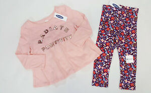 NWT-Old-Navy-Girls-Size-2t-4t-or-5t-Pink-Positivity-Top-Flower-Leggings