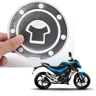 1P Carbon Fiber Style Motorcycle Oil Tank Cover Gas Tank Sticker Decal Protector