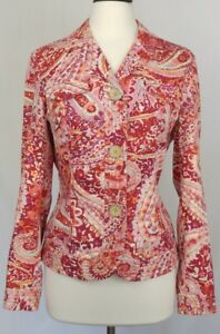 Coldwater-Creek-Jacket-Size-12-Red-Pink-Paisley-Long-Sleeve-Button-Front