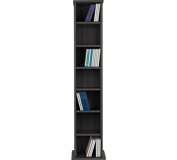 Black Wooden Cd Rack 6 Tier Storage Unit Cabinet Stand Dvd Shelf Organiser Tower