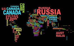 Art print poster world map countries words new giant wall ebay image is loading art print poster world map countries words new gumiabroncs Gallery