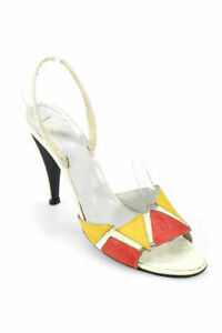 CHRISTIAN-DIOR-VTG-White-Yellow-Red-Leather-High-Heel-Slingback-Sandals-7-5B