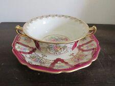 Rosenthal Ivory Bavaria Germany Creame Soup Bowl & Saucer Burgundy Red Flowers
