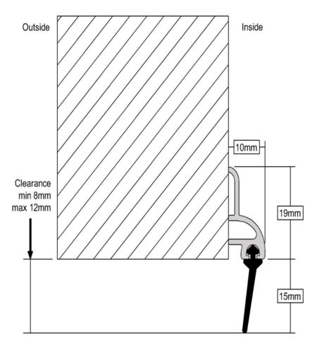 Stormguard Rubber Bottom Door Seal Aluminium