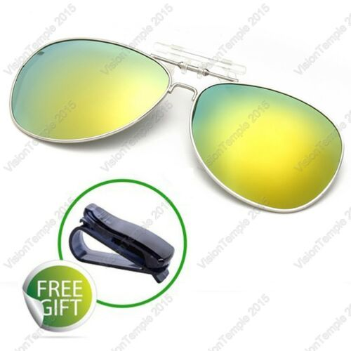 Polarized Lens UV400 Flip-Up Clip On Sunglasses Wear Over Glass Vision Driving