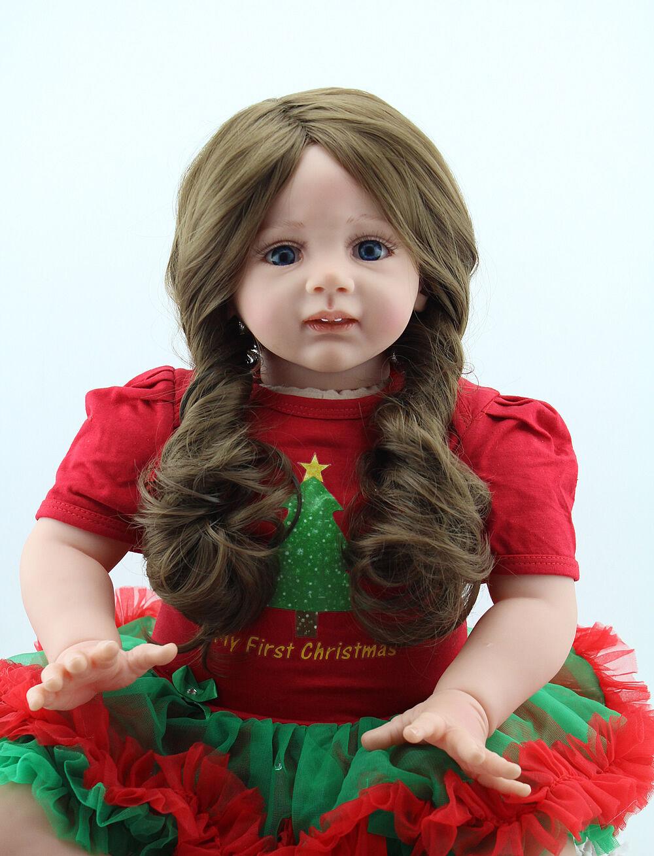 Niño Reborn Bebé Niñas Muñeca de Juguete de cabello largo 24  Vinilo Suave Niño Recién Nacido Regalo Nuevo