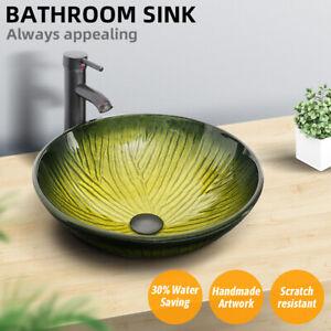 Bathroom Vessel Sink Tempered Glass Basin Bowl Faucet Bronze Drain Combo Set Us Ebay