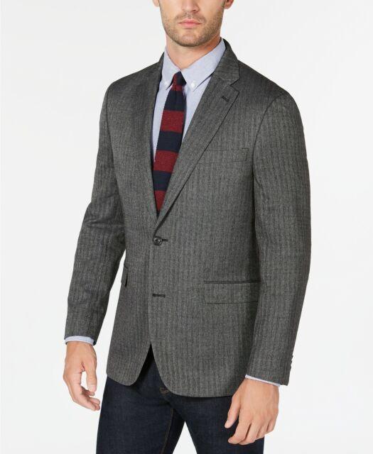 Tommy Hilfiger Men/'s Trim Fit Gray Plaid Two Button Stretch Wool 2 Button Suit