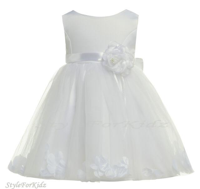 BABY GIRL WHITE DRESS CHRISTENING WEDDING BRIDESMAID FLOWER GIRL PARTY DRESSES