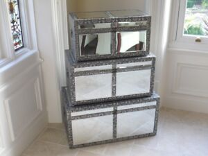 Embossed Mirror Set 3 Trunk Chest Ottoman Blanket Box