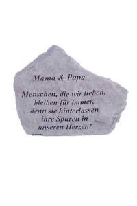 Gedenkstein-Mama-amp-Papa-Steinguss-Breite-18-cm-Gedenken-Grabstein-Friedhof