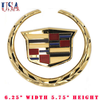 Guzetop 3D 4 Rear Chrome Wreath Crest Logo Emblem Badge Sticker fit for Cadillac