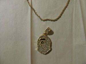 A-Bathing-Ape-BAPE-Iced-Crystal-Rhinestone-Gold-Chain-Cuban-Necklace