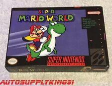 SUPER MARIO WORLD (Super Nintendo SNES, 1992) Game Complete CIB w/ Custom Box