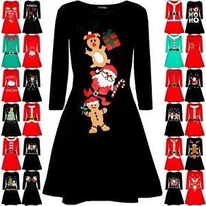 Womens Ladies Christmas Santa Reindeer Gingerbread Gift Swing Flared Mini Dress