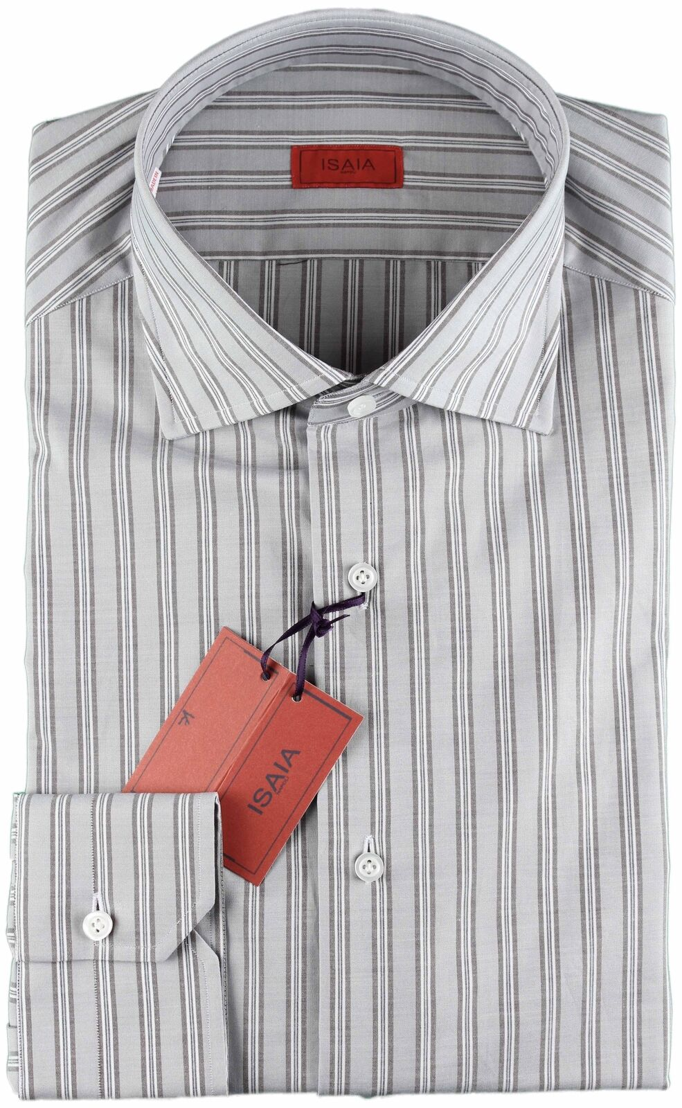 NWT ISAIA SHIRT Grau & Weiß striped luxury spread handmade  40 15 3/4