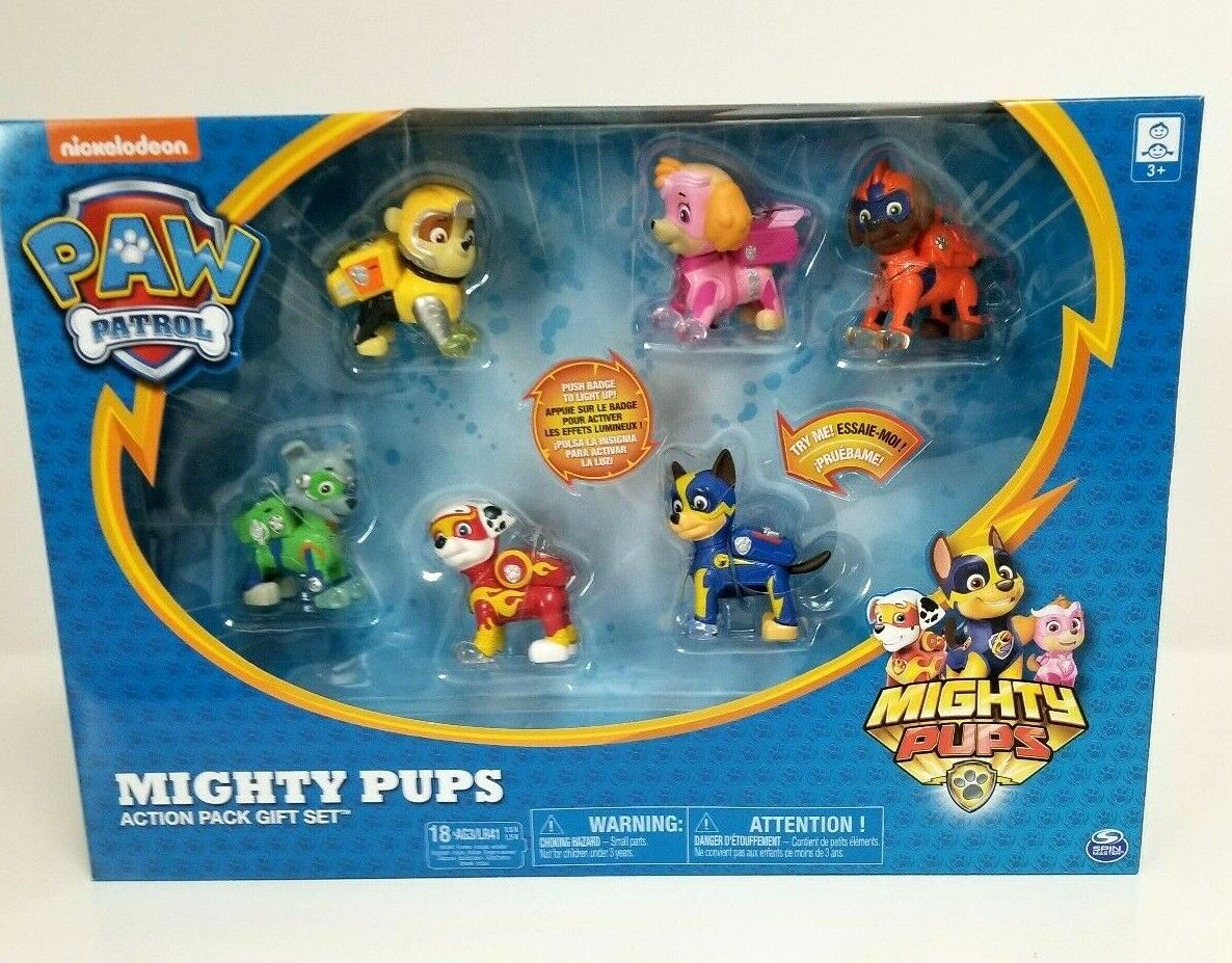 Paw Patrol Mighty Pups 6 Pack Gift Set Figures  With Light Up Badges & Paws NEW