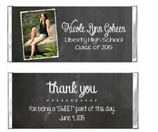 Graduation YOUR PHOTO Chalkboard Candy Wrappers Party Favors Personalized Custom